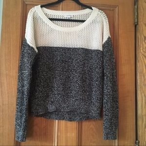Calvin Klein Black and White Color Block Sweater